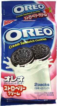 Nabisco Japan Made Oreo — Strawberry Cream $3.00 http://thingsfromjapan.net/nabisco-japan-made-oreo-strawberry-cream/ #Japanese oreo #Japanese cookie #Japanese snack