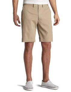 Men's Cotton Short Twill Flat Front Chino Short Button closure