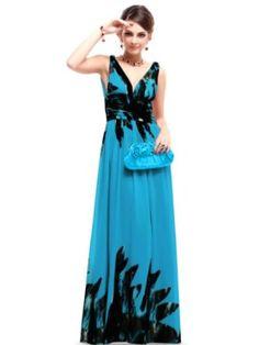 Ever Pretty Double V-neck Printed Chiffon Empire Line Pleated Evening Dress 09641,$69.99$69.99