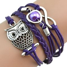 Sannysis Fashion Women Lovely Infinity Owl Pearl Friendship Multilayer Charm Leather Bracelets Gift *** Learn more by visiting the image link.