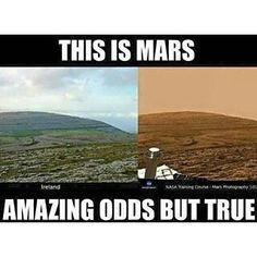 False: The image on the right was created by Danny Wilten and not taken by NASA.  This is the link to the video were he pretends to host a NASA photoshop workshop ->   https://youtu.be/U5_Il2tAT7U?t=198  And this is the site the video is linked from http://humansarefree.com/2015/12/where-on-earth-are-nasas-rovers-sending.html #Nasalies