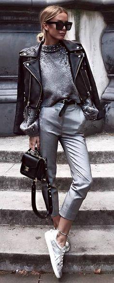 stylish look | sweater + bag + biker jacket + grey pants + sneakers