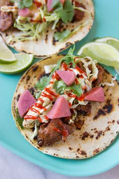 Can't get enough of these Korean style red chili pork tacos! Recipe includes gochujang sriracha, pickled radishes and miso mayo. So easy to make -- Can even be prepared ahead of time!
