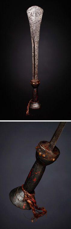 "KUBA ""ilondo"" (ceremonial sword), DR Congo, (58,4 cm). Iron, wood, brass tacks."