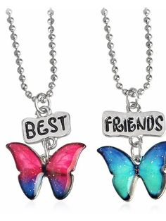 Butterfly Best Friends Necklaces - Rainbow