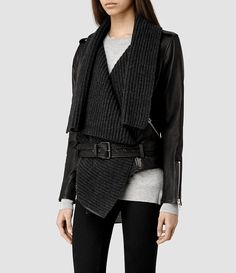 Womens Wrap Leather Biker Jacket (Black/Charcoal) - product_image_alt_text_2