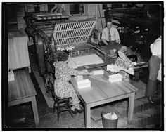 U.S. Census Bureau clerks cut and fold questionnaires in preparation for the Unemployment Census conducted in November 1937. Learn more at http://www.census.gov/history/