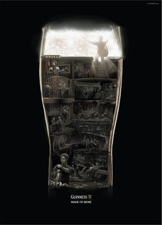 Guinness – Made Of More Posters: Music illustrations by BBDO Proximity Singapour, art direction by Jennyson Rosero. Creative Advertising, Ads Creative, Print Advertising, Advertising Campaign, Advertising Ideas, Ad Of The World, Dragons Online, Great Ads, Branding