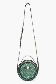 CARVEN Blue Iridescent Textured Round Shoulder Bag