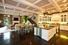Stunning Mediterranean Home with Gorgeous Interior and Exterior: Stunning Open Kitchen Design White Cupboard Brentwood Home ~ ozvip.com Luxury Home Designs Inspiration