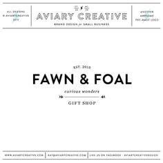 "AviaryCreative   Boutique Pre-made Logo Design ""Fawn  Foal"" Graphic Design / Custom Brand Design"