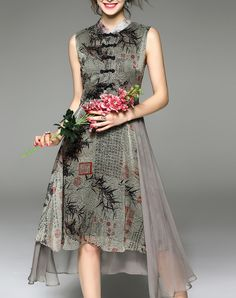 Gray Bamboo Embroidered Sleeveless Midi Dress, Gray, Elenyun | VIPme