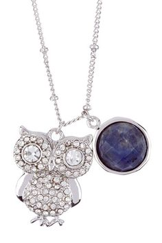 Owl Necklace - sparkly lil hoot! love the lapis stone