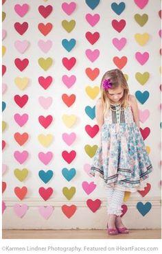 Multicolored Hearts Backdrop - 25+ Cute Valentine Photo Session Ideas for Kids