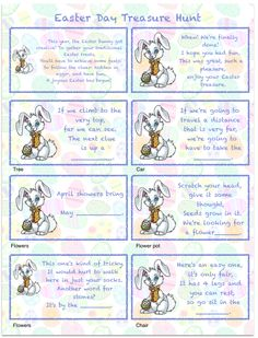 Free printable Easter Egg Hunt: mix-and-match clues plus a page of blanks to make up your own! Easter Riddles, Easter Games, Easter Activities, Easter Egg Hunt Clues, Easter Eggs, Easter Food, Scavenger Hunt For Kids, Scavenger Hunts, Easter Scavenger Hunt Riddles
