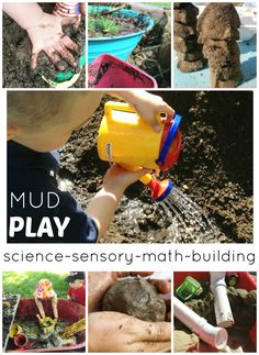 Messy sensory play with mud play activities and early learning ideas. Use mud for sensory, science, STEM, math, and social skills! Perfect activities for toddlers, preschool, and kindergarten age kids to enjoy together. Engineering ideas and tactile sensory play.