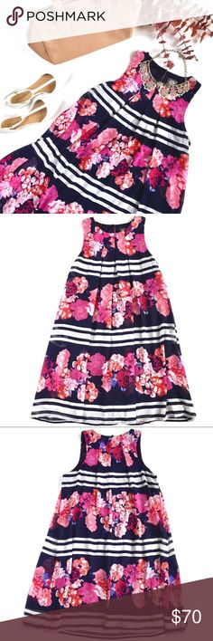 """Vince Camuto Navy & Pink Floral Striped Dress, S A vibrant fuchsia and blossom-pink floral print on a classic nautical navy & white-striped background - this beautiful shift dress from Vince Camuto features and pleated front and high neckline, flowing fit, and double-lining. Size S, fits comfortably sizes 2-6, measures approx 18"""" across bust, 35"""" long. Brand new, NWT. Please feel free to make an offer, bundle for greater discount, or ask any questions! :) Vince Camuto Dresses"""