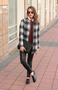 white button-up, burgundy crewneck sweater, plaid coat, leather leggings, oxfords