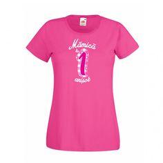 Tricou personalizat cu mesajul Mamica de 1 anisor. Cifra si textul sunt roz sau…