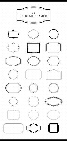 A set of digital frames clip art. Classic digital frames for invitations, scrapbooking, banners, logos and other designs.