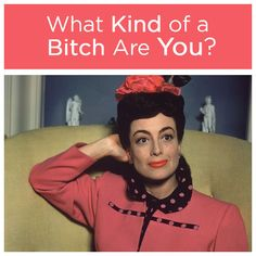 What Kind Of A Bitch Are You? You got: Bad Bitch. You are the baddest kind of bitch around. You laugh in the face of danger, and then kick it in the balls. Sarcastic Comebacks, Famous People In History, Mario Dedivanovic, Quiz Me, Hair Flip, Fun Quizzes, Found Out, Queen, Love