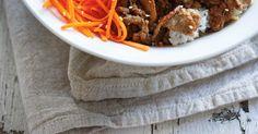 Bibimbap (Korean Rice, Vegetable, Egg and Beef Bowl) Kimchi, Korean Rice, Ricardo Recipe, Sambal Oelek, Pickled Carrots, Bean Sprouts, Rice Vinegar, Cucumber, Main Dishes