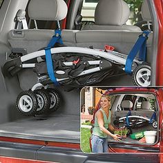 OneStepAhead.com  Stor-a-Stroller Storage straps ...good Idea and cheap at $8.95
