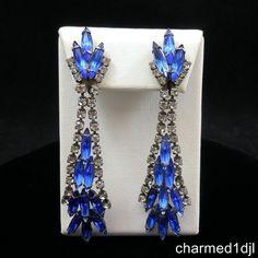 VTG RUNWAY Royal Blue Navette Clear Rhinestone Chandelier Dangle Earrings WEISS? #Unbranded #Chandelier