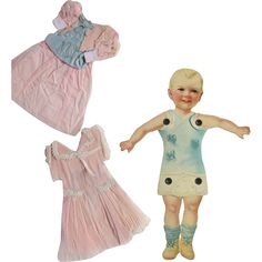 Antique Paper Doll with Crepe Paper Dresses from nostalgicimages on Ruby Lane