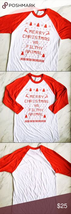 """American Apparel Christmas Long Sleeved Tee """"Merry Christmas Ya Filthy Animal"""" 3/4 sleeve tee. Perfect for the holiday season, great for an ugly xmas sweater party. Be the funniest one in the room, who doesn't love a good 'Home Alone' reference? I believe it's a unisex M. American Apparel Tops Tees - Long Sleeve"""