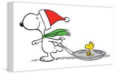 Description: Snoopy and Woodstock love playing by sledding in the snow. This Peanuts art perfectly celebrates the winter season. - Peanuts wall art featuring Snoopy and Woodstock - Durable art print o