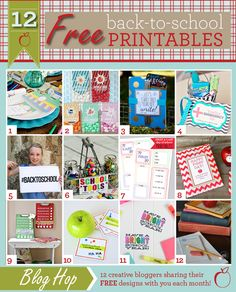 12 FREE back to school printables!  Including quick and easy teacher gifts, lunchbox jokes, organizing printables, photo props, and even a whole back to school dinner party set!
