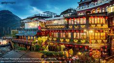 Jiufen Tea Houses at Night, Taiwan