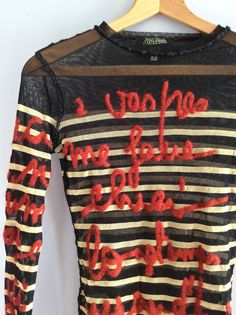 RESERVED - do not buy - Vintage Jean Paul Gaultier sheer mesh top vtg Gaultier Maille Femme embroidered stretch striped sheer JPG tattoo top