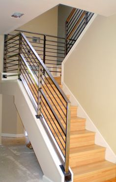 Incridible Chrome Metal Railing Banister With Oak Steps As Modern Stairs Added Beige Wall Painted Interior Color Plans