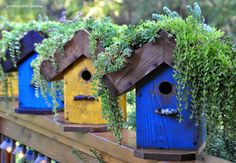 "Interesting accent piece in the garden. Add a ""roof garden"" to your DIY birdhouse"