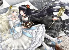 Chocolate chess princesses with long hair & gothic lolita dresses by manga artist Shiitake.