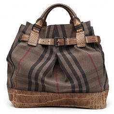 Burberry. Overdyed vintage check tote with alligator belt. This is why women don't have just one bag!
