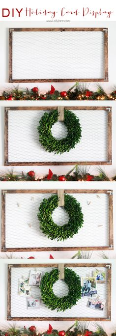 Chicken Wire #Holiday Card Display // LollyJane.com- #Christmas #DIY