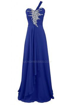 Long Blue Beaded One-Shoulder Prom Evening Formal Party Dresses ED010243