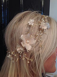 Soft golden and champagne tones in my new boho rustic wedding headdress.....love it ! x Available at:http://www.bridalrooms.co.uk http://www.facebook.com/BridalRooms
