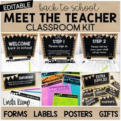 Back to School Meet the Teacher Kit EDITABLE Forms Signs L