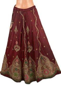 Antique Vintage Hand Beaded Indian Lehenga Long Skirt Peacock Design Awesome | eBay