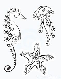 Nautical doodles, would be perfect to put on a scrap book page with photos of Cali at the beach! quilling coloring pages Stock Photo Doodles Zentangles, Zentangle Patterns, Doodle Patterns, Jellyfish Tattoo, Jellyfish Quotes, Jellyfish Sting, Jellyfish Aquarium, Watercolor Jellyfish, Jellyfish Facts