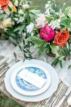Vintage Blue and White Patterned China Place Settings with Colorful Summer Centerpieces | Honey Gem Creative | http://heyweddinglady.com/preppy-southern-chic-summer-wedding-shoot/
