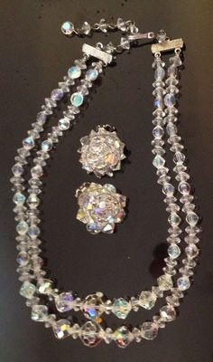 VINTAGE 1950s SET AURORA BOREALIS DEMI PARURE SET GLASS NECKLACE & EARRINGS #AuroraBorealis