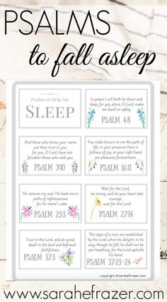 Psalms to Help You Fall Asleep – Sarah E. Frazer Do you struggle to fall asleep? These Psalms of comfort will help you fall asleep and rest in God each night. Grab these free Scripture cards to help you find comfort in God's presence. Prayer Scriptures, Bible Prayers, Faith Prayer, Prayer Quotes, Healing Scriptures, Scripture Cards, Bible Verses Quotes, Faith Quotes, Prayer Cards