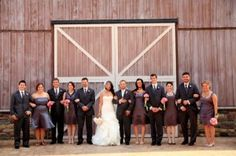 Picture idea, and line bedding party in a straight line and the bride is first and the remaining  wedding party lean out opposite directions.