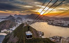 This HD wallpaper is about Rio de Janeiro, cityscape, sky, sunlight, Original wallpaper dimensions is file size is Beautiful Sunset, Beautiful Places, Places To Travel, Places To Visit, Bonde, Travel Tours, Natural Wonders, Samba, Wonders Of The World