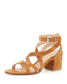 Suede Crisscross Block-Heel Sandal, Luggage by Gianvito Rossi at Neiman Marcus.